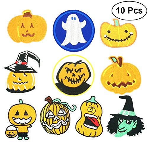 LUOEM Halloween Applique Patches Iron on Patch Embroidered Applique Patches Sew on Badges Clothes DIY Accessory 10PCS -