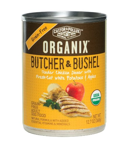 Organix Butcher and Bushel Organic Tender Chicken Dinner with Fresh-Cut White Potatoes and Apples for Pets, 12.7-Ounce