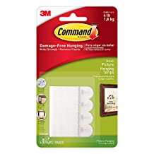 Command Small Picture Hanging Strips, White, 4-Strip
