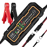 AUTDER 6V/12V 5A Fast Smart Battery Charger with Detachable Alligator Clips and Ring Connectors Portable Automatic Battery Maintainer for Car Motorcycle Lawn Mower Toy Cars