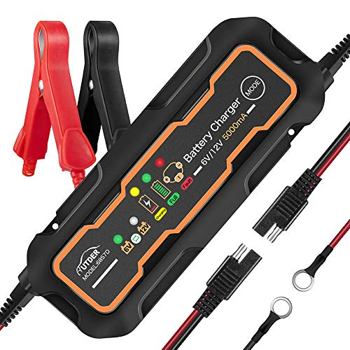 AUTDER 6V/12V 5A Fast Smart Battery Charger with Detachable Alligator Clips and Ring Connectors Portable Automatic Battery Maintainer for Car Motorcycle Lawn Mower Toy Cars (Lifepo4 Battery Tender)