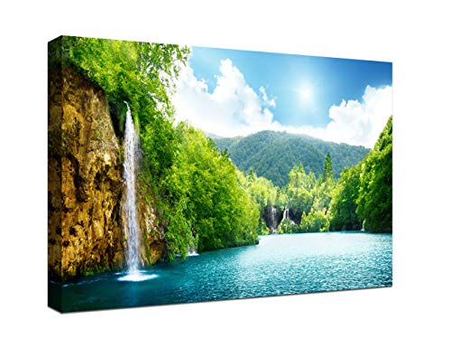 Green Living Gift - Modern Waterfall Painting Canvas Wall Art Pictures Spring Green Forest and Lake Paintings for Living room Wall Decoration Birthday Gifts Stretched and Framed Ready to Hang for Home (16x24 inch)