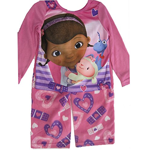 Disney Jr. Big Girls White Purple Doc McStuffins 2 Pc Paj...