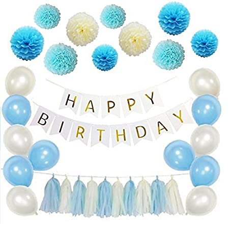 Rosa e Crema 51 Pack Nappa Garland e Balloon per Decorazioni per Feste di Compleanno CiMi Happy Birthday Decoration Set Banner con Paper Pom Poms Flower Menta Verde