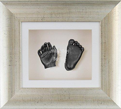 BabyRice 3D Baby Boy Casting Kit Antique Silver Frame Pewter Foot Casts by BabyRice