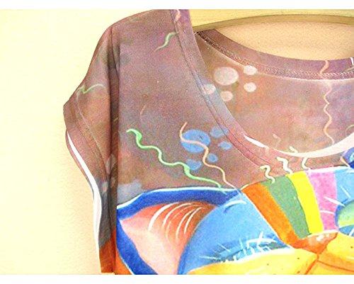 mujer para verano de Camiseta blusa de de multicolor con estampado unica Acvip manga top talla corta BT551qw