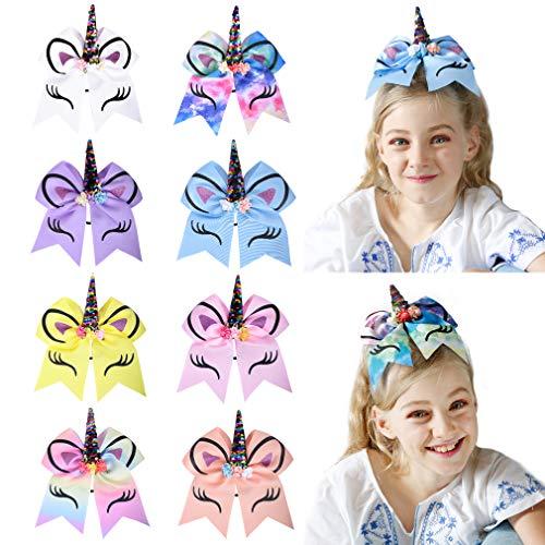 DEEKA Large Unicorn Cheer Hair Bows 8 Pack 7 for Teen Girls Cheerleader Sports