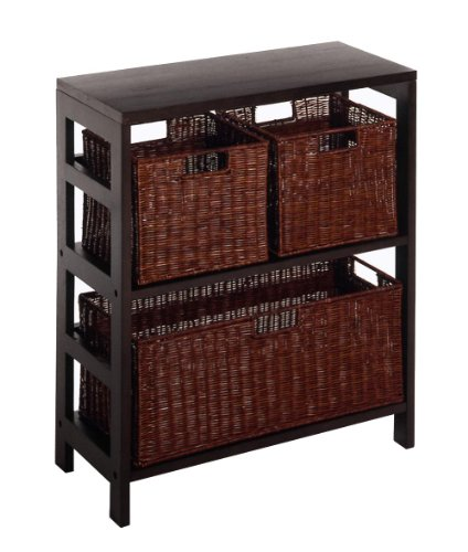 Winsome Wood Leo Wood 3 Tier Shelf with 3 Rattan Baskets - 1 Large; 2 Small in Espresso Finish ()