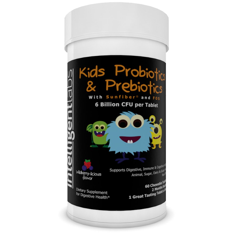 6 Billion CFU Kids / Children's Probiotics with Prebiotics, Sunfiber and Fos, for 10x More Effectiveness. One A Day Great Taste Chewable Probiotic, 2 Months Supply Per Bottle by Intelligent Labs