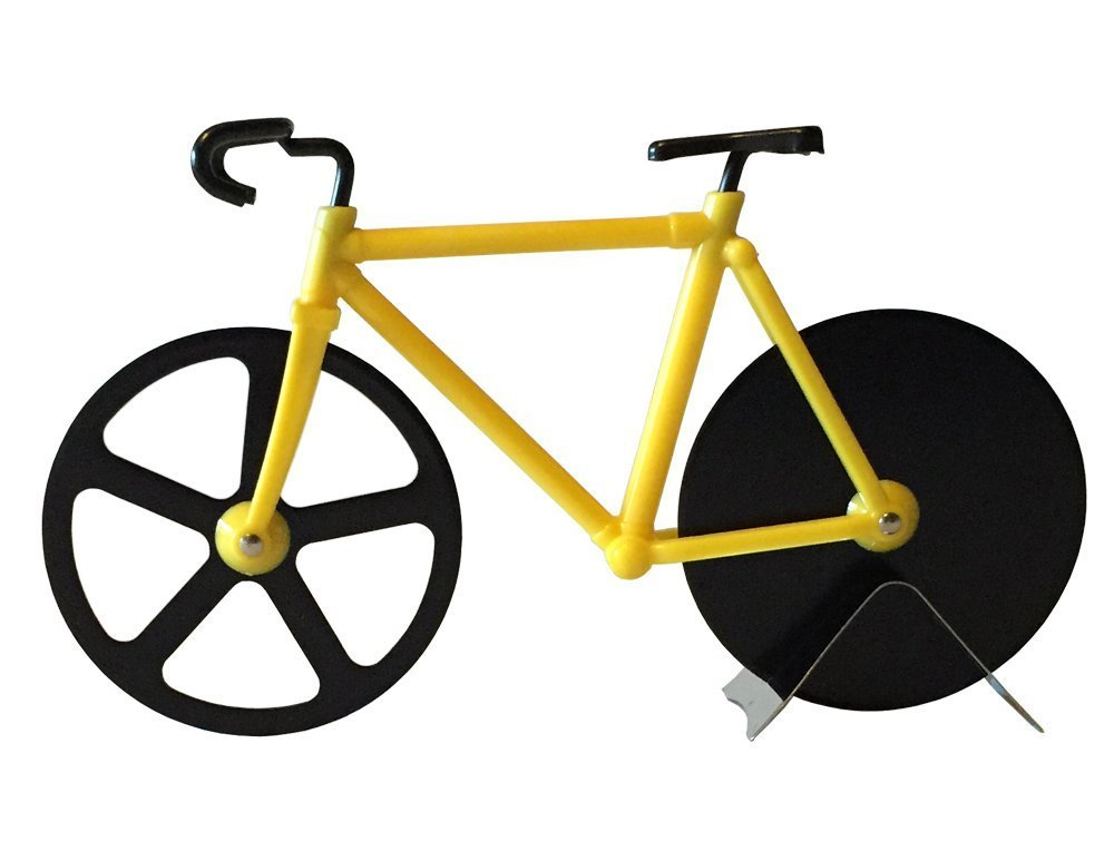 Esamconn Bicycle Pizza Cutter Dual Stainless Steel Bike Pizza Cutter Wheel (Yellow/Black)