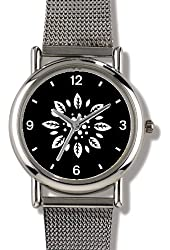 Floral Design (White on Black) 2 - WATCHBUDDY® ELITE Chrome-Plated Metal Alloy Watch with Metal Mesh Strap - Small ( Children's Size - Boy's Size & Girl's Size )