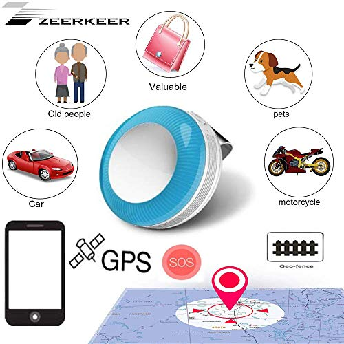 ZEERKEER Mini GPS Tracker for Kids, Pet Safety GPS Tracker with Clips, Real-time Tracking Locator with SOS Function, GPS Elder Tracker, GPS Trackers for Dementia