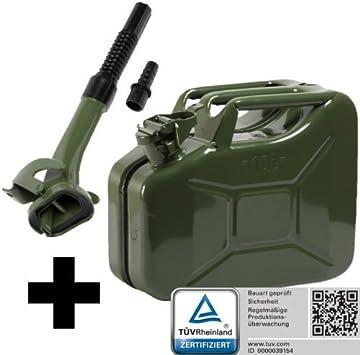Bauart gepr/üft Oxid7/® Benzinkanister Kraftstoffkanister Metall 20 Liter Olivgr/ün mit UN-Zulassung T/ÜV Rheinland Zertifiziert f/ür Benzin und Diesel