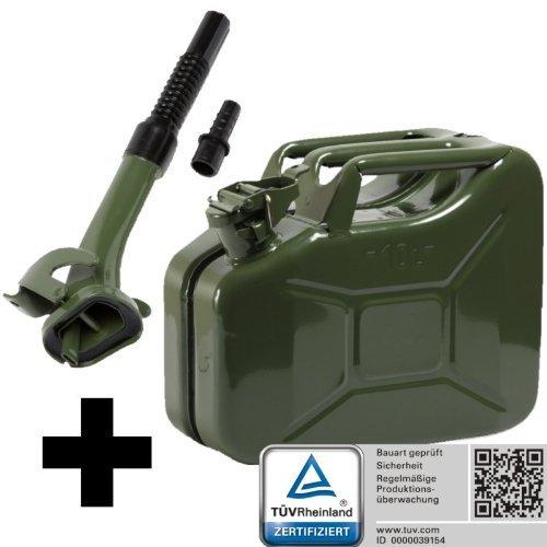 Oxid7 Benzinkanister Kraftstoffkanister Metall 10 Liter Olivgrün inkl. Ausgießer mit UN-Zulassung - TÜV Rheinland Zertifiziert - Bauart geprüft - für Benzin und Diesel 4052704056674