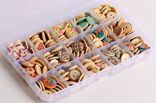 [LifeGlow Art8482; 225pcs Mixed Wooden Buttons in Bulk Buttons for Sewing and Crafting Round Colorful Painting Buttons with Storage Case] (Button Storage)