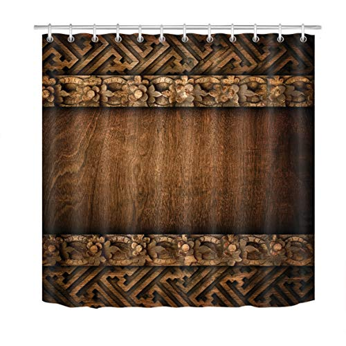 LB Rustic Wood Barn Door Shower Curtain,Vintage Style Western Country Shower Curtains for Bathroom,Waterproof Mildew Resistant Fabric Bath Curtains 72x72 -