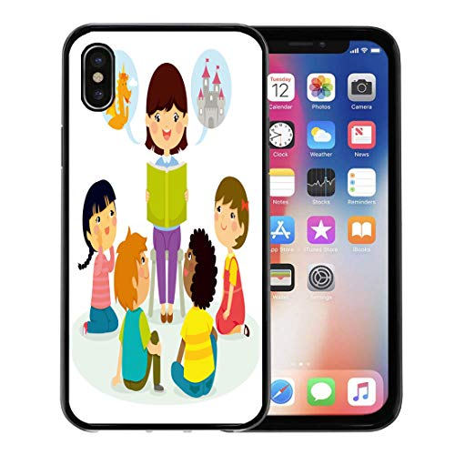 Semtomn Phone Case for Apple iPhone Xs case,Story Woman Reading Book to Young Children Tell Teacher Preschool for iPhone X Case,Rubber Border Protective Case,Black]()