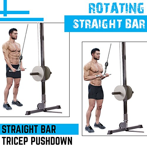 A2ZCARE Combo Tricep Press Down Cable Attachment | Multi-Option: Double D Handle, V-Shaped Bar, Tricep Rope, Rotating Straight Bar (V Handle+Tricep Rope+Rotating Bar+V-Shaped Bar) by A2ZCARE (Image #3)