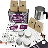 DIY Gift Kits Soy Candle Making Kit - for Adults (49-Piece Set) Become A Candle Maker Kit w/Wax, Wicks, Tin Containers, Essential Oils, Color Sticks | Creates Colorful, Large Scented Candles