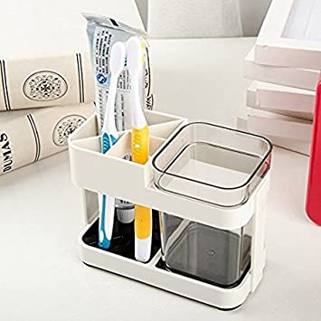 Zollyss Plastic 1 Cup Toothbrush Toothpaste Stand Holder Bathroom Storage Organizer, Multicolour, Standard Size