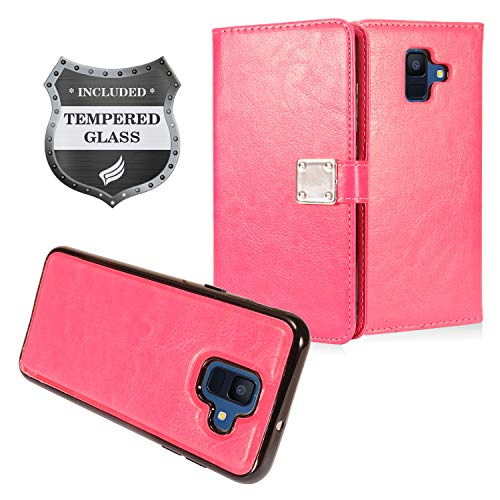 Eaglecell - Samsung Galaxy A6 (2018) SM-A600 - Detachable Magnetic Flip Wallet Case + Tempered Glass Screen Protector - MW2 Hot ()