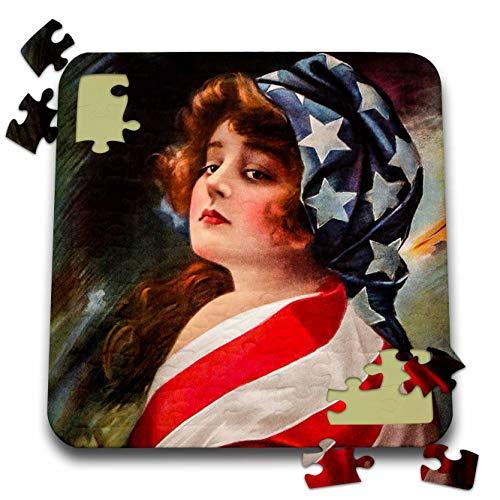 Flag Vintage Patriotic Postcard - 3dRose Scenes from The Past - Postcard - Patriotic 1916 World War I Vintage Pin-Up Betsy Ross Americana - 10x10 Inch Puzzle (pzl_300250_2)