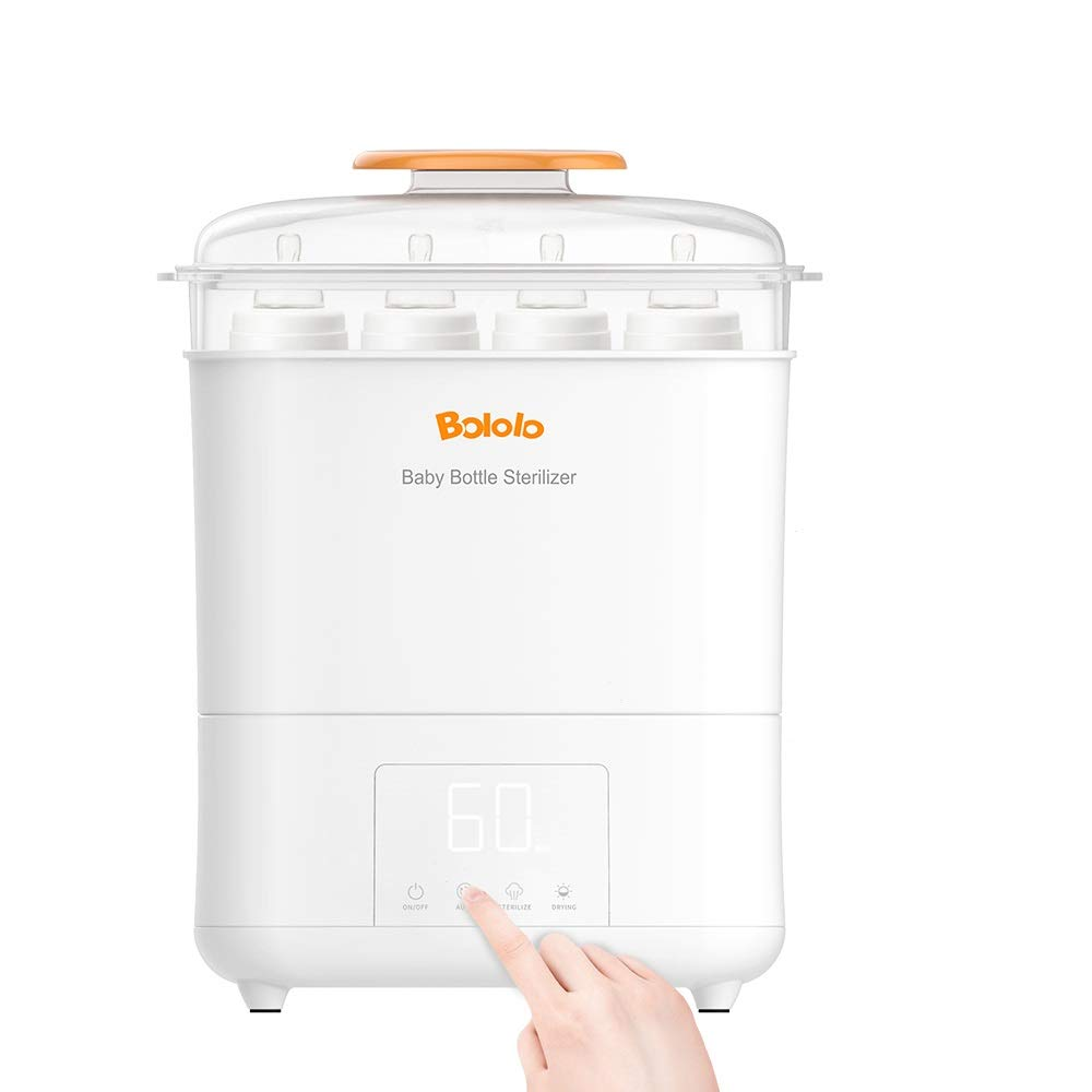 Bololo Baby Bottle Eletric Steam Sterilizer and Dryer with LED Panel Touch Screen, Drying time Control and only Drying Function, HEPA Filter Inside by BOLOLO