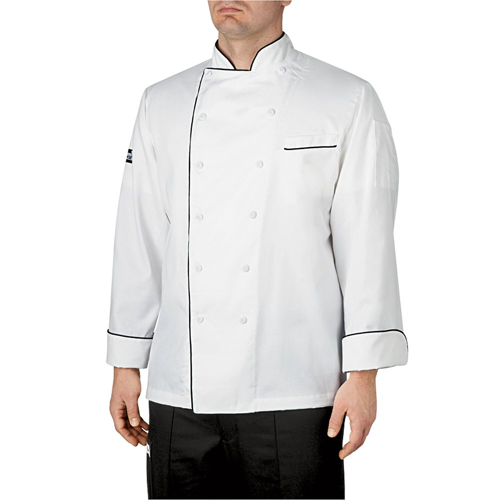 Chef Jacket (Four-Star)-X-Small- Black Piping by Chefwear