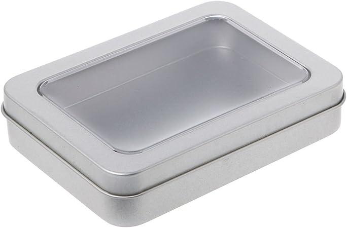 Rtengtunn Ventana Transparente Superior Caja de Lata de Metal Caja de Almacenamiento de Plata en Blanco Manualidades Kit de Supervivencia - 1: Amazon.es: Hogar