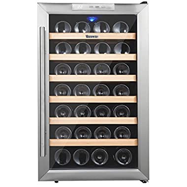 Kalamera 28 Bottle Stainless Steel Freestanding Wine Refrigerator