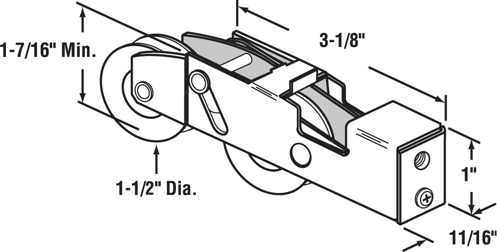 Prime-Line Products D 1988 Sliding Door Tandem Roller Assembly, 1-1/2-Inch Steel Ball Bearing by Prime-Line (Image #2)