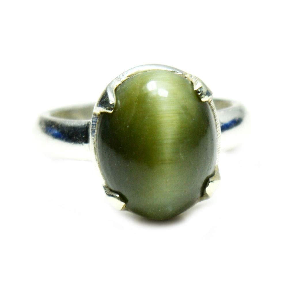 Jewelryonclick Natural 5 Carat Cats Eye Silver Ring for Women Prong Style Jewelry in Size 4,5,6,7,8,9,10