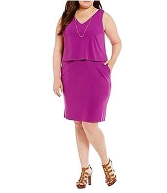 Amazon.com: Lauren Ralph Lauren Plus Size Layered Jersey V ...