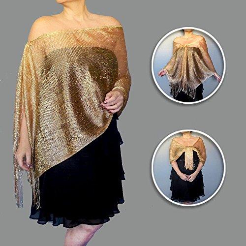 [Dark Gold Shawl Sheer Evening Wrap Womens Wedding Clothing By ZiiCi] (Swinging 20s Costumes)
