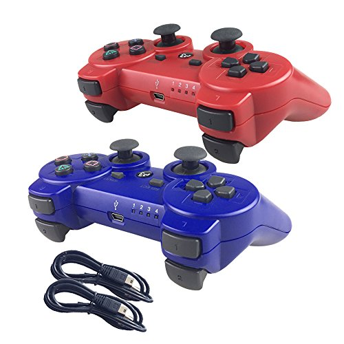 Ps3 Red Wireless Controller - Nesada 2 Packs Wireless Bluetooth Controller For PS3 Double Shock - Bundled with USB charge cord (Red and Blue)