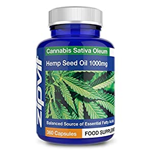 Hemp Oil 1000mg Supplement, 360 Softgel Capsules of Hemp Seed Oil. 12 Months Supply.