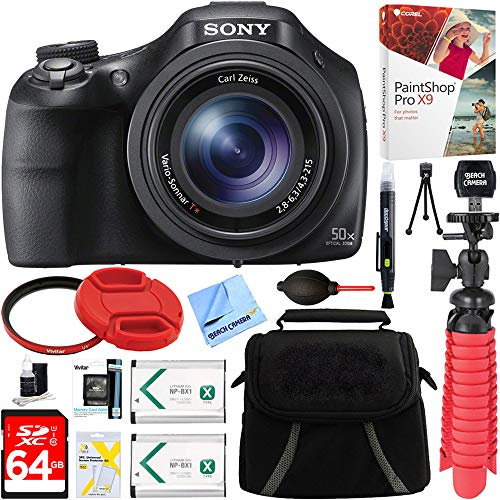 (Sony DSC-HX400V/B 50x Optical Zoom Digital Camera + 64GB Memory Card, Battery & Accessory Bundle)