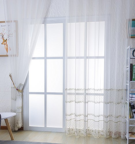 Aside Bside Simple Sheer Curtains Trellis Geometry Floral Embroidered Window Panels Rod Pocket Top for Living Room Bedroom(1 Panel, W 50 x L 90 inch, ()