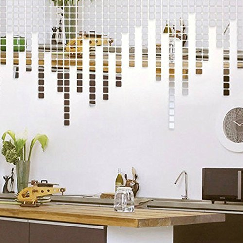 Amaonm 100pcs 2x2cm Silver Acrylic Rectangle Design Removable 3d DIY Mosaic Mirror Effect Crystal Wall Decals Stickers Murals for Home Living Room Kids Babys Boy and Girl Bedroom Decor Decoration