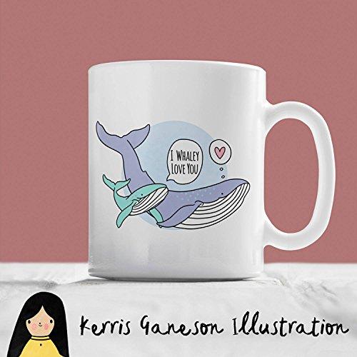 Timug I Whaley Love You Whale Mug Hand Illustrated Mug Cute Mug Whale Gift Love Mug Love Gift Animal Mug Sea Mug Animal Gift Pun Mug ()