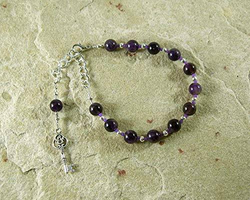 - Hekate Prayer Bead Bracelet in Amethyst: Greek Goddess of Magic, Witchcraft, Night, Darkness, Protection of the Home and Women