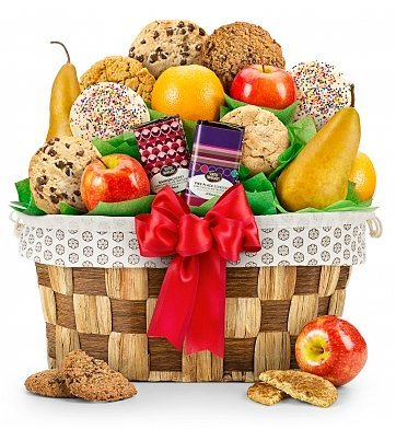 Fresh Fruit and Cookies Gift Basket - Premium Gift Basket for Men or Women (Edible Delivery Gifts)