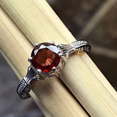 Gorgeous Natural 1ct Hessonite Garnet 925 Sterling Silver Victorian Filigree Ring sz 7 Victorian Garnet Ring