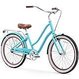 sixthreezero EVRYjourney Women's Single-Speed Step-Through Hybrid Cruiser Bicycle, Teal w/Brown Seat/Grips