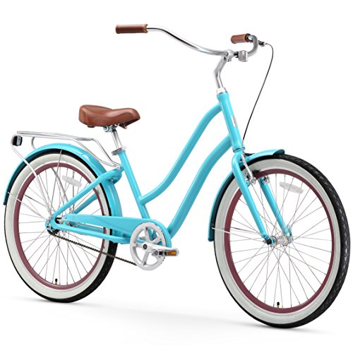 "sixthreezero EVRYjourney Women's Single Speed Step-Through Hybrid Cruiser Bicycle, Teal w/Brown Seat/Grips, 26"" Wheels/ 17.5"" Frame"