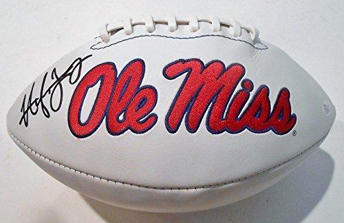 Hugh Freeze Signed Ole Miss Rebels Logo Football w COA P26640 - JSA Certified - Autographed College Footballs