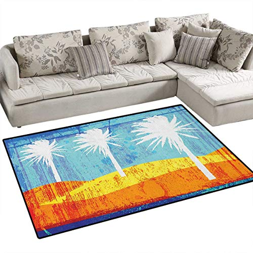 Burnt Orange,Carpet,Contemporary Motley Stained Distressed Tropic Beach with Palms Graphic,Area Silky Smooth Rugs,Orange Blue White (Union Distressed Belt)