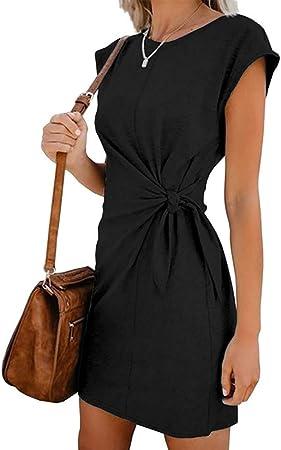 Vestido de mujer con camisa y cuello redondo de un solo color ...