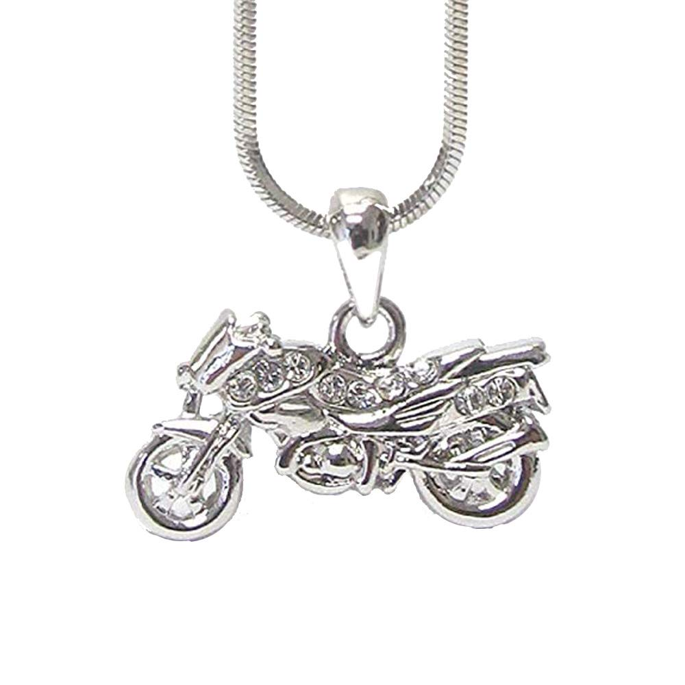 Lola Bella Gifts Crystal Motorcycle Motor Bike Biker Necklace with Gift Box