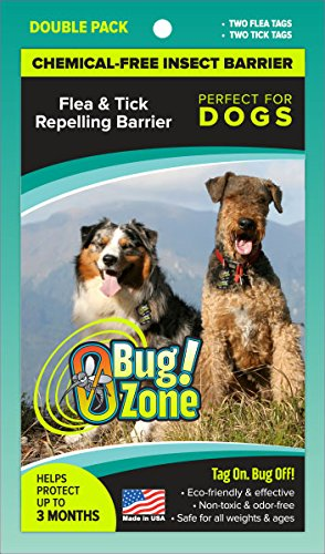 0Bug!Zone Flea and Tick Barrier Tag for Dogs, 2 Tags by 0Bug!Zone